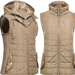 ✨Women's Quilted KHAKI HOODED JACKET VEST 2 NWT*